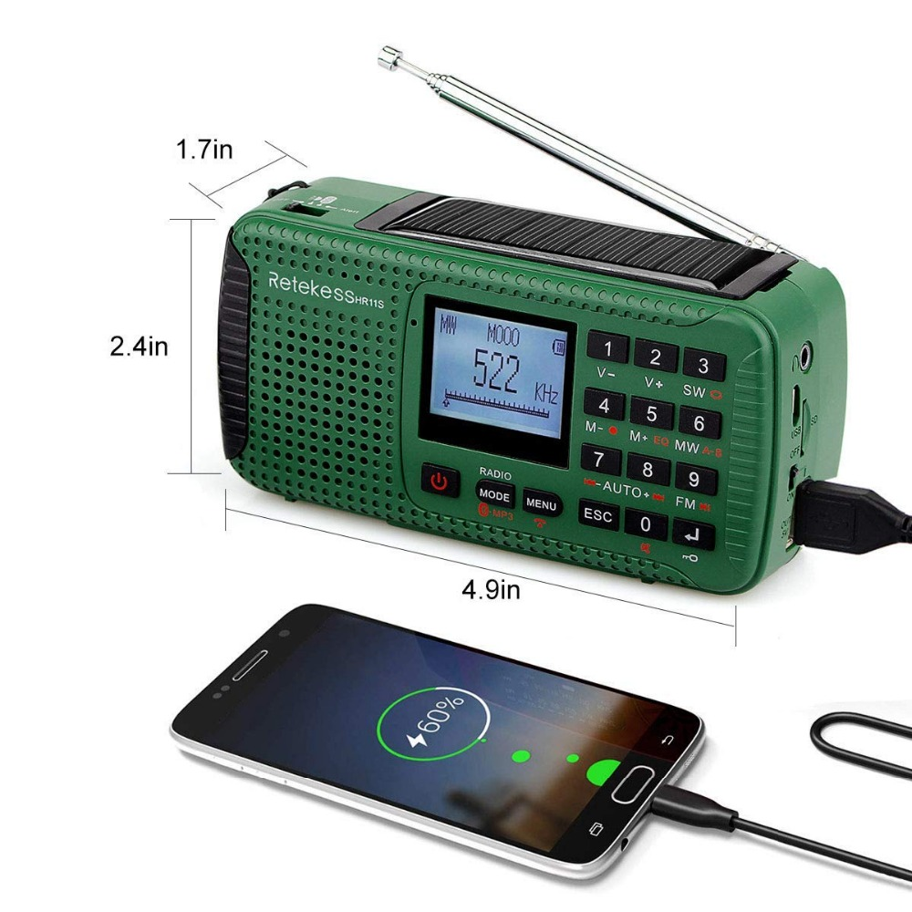 Image 4 - Retekess HR11S Radio durgence manivelle Radio solaire FM/MW/SW  Bluetooth lecteur MP3 enregistreur numérique Portablehand crank solar  radioemergency radiosolar radio