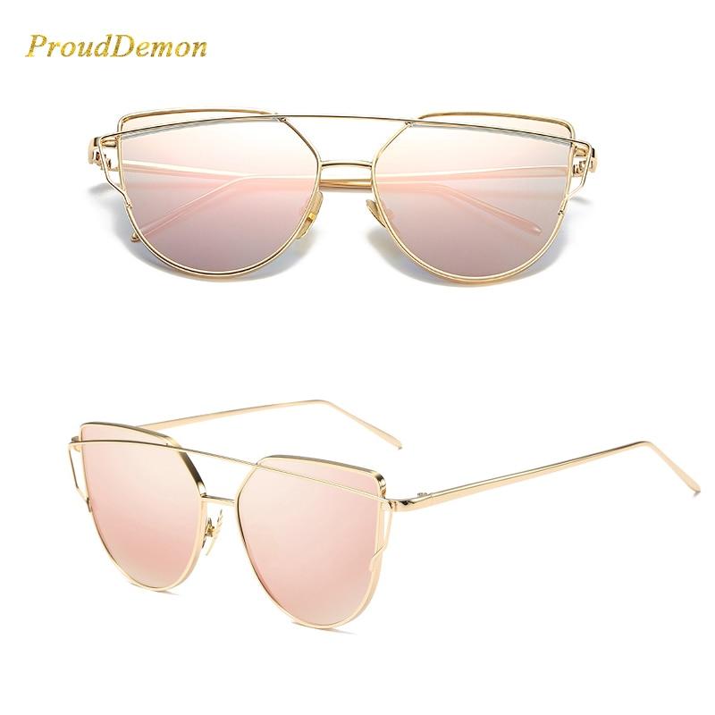 Cat Eye vintage Brand designer rose gold mirror Sunglasses For Women Metal Reflective flat lens Sun Glasses 1