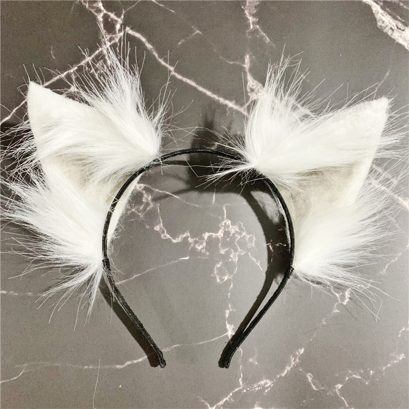 Handmade Anime Neko 3 Colors Realistic Fur Wolf Ears Headband Cosplay Anime Costume Halloween Birthday Party Hair Accessories