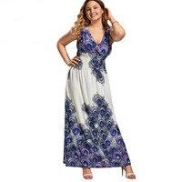 CharmMma Plus Size 5XL Sexy V Neck Printed Bohemia Boho Maxi Long Dress Women Summer 2017