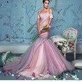 Luxo Vestido de Noiva Sereia vestidos de Casamento 2017 Vestidos Plissados Formal Casamento Cor De Rosa vestido de Noiva Real Fotos