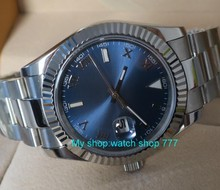 PARNIS 41mm blue dial Automatic Self-Wind mechanical movement men's watch Sapphire Crystal Auto Date Mechanical Wristwatches r