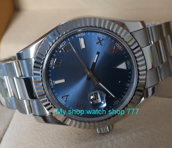 Parnis 41mm 블루 다이얼 자동식 자동식 기계식 무브먼트 남자 시계 사파이어 크리스탈 자동 날짜 기계식 손목 시계 r-에서스포츠 시계부터 시계 의  그룹 1