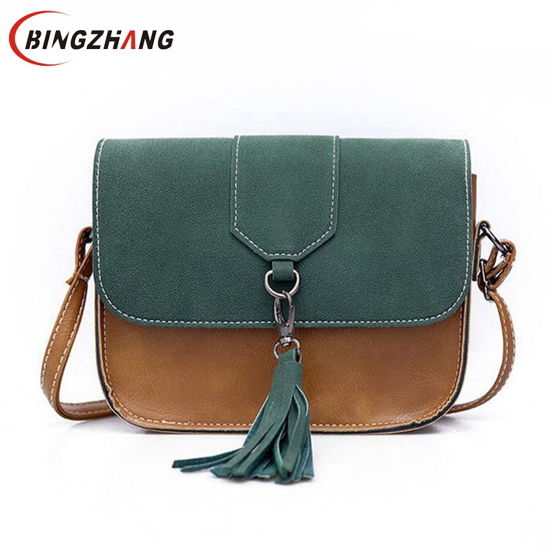 Nubuck Women Messenger Bags Designer Handbags Retro Shoulder Bag Cross Body Bags Tassel Handbag Small Ladies Fashion L4-2982 2017 women leather handbag of brands women messenger bags cross body ladies shoulder bag luxury handbags designer s 83