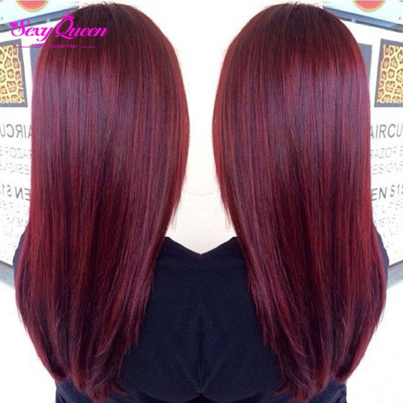 Extrêmement Bourgogne Cheveux Brésiliens Ombre Armure de la Reine de Cheveux  BW13