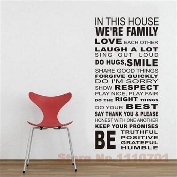 Aliexpress.com : Buy IN THIS HOUSE English DIY Glass Vinyl Wall Stickers  Home Decor Living Room Sofa Wall Decals Home Decoration Wallpaper Painting  From ... Part 91
