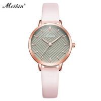 MEIBIN Luxury Brand Watches Women Fashion Pink Leather Watch Ladies Thin Casual Strap Watch Creative Dial