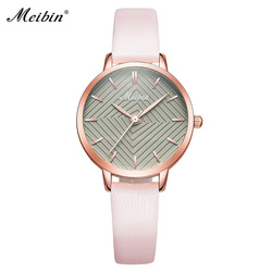 MEIBIN Luxury Brand Watches Women Fashion Pink Leather Watch Ladies Thin Casual Strap Watch Creative Dial Clock 4 color