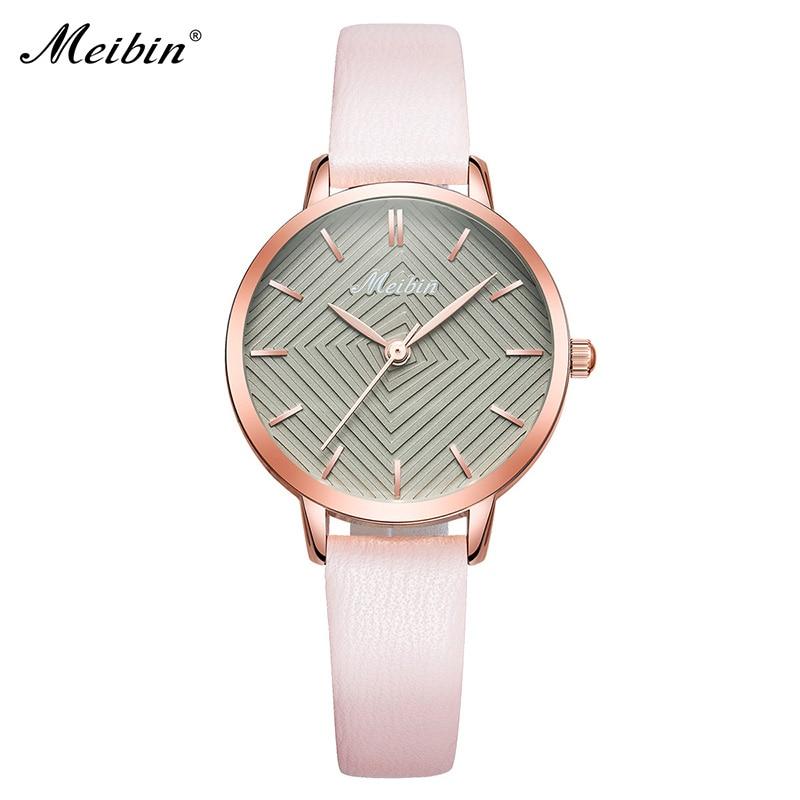 MEIBIN luxe merk vrouwen horloges 2018 mode roze lederen dameshorloge - Dameshorloges - Foto 1