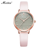 MEIBIN Luxury Brand Watches Women Fashion Pink Leather Watch Ladies Thin Casual Strap Watch Creative Dial