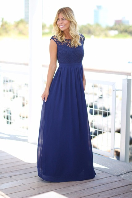 Us 92 4 30 Off 2019 Maxi Royal Blue Beach Bridesmaid Dresses Long Cap Sleeves Lace Top Chiffon Summer Wedding Guests Dresses Custom Made Cheap In