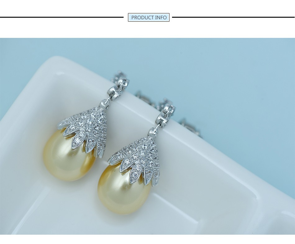 Luoteemi Vintage Jewelry Big Grey Yellow White Imitation Pearl Drop Earrings Statement Tiny Cz Crystals Flower Brincos For Party Drop Earrings Jewelry & Accessories