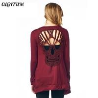 OLGITUM New Fashion Women Long Sleeve T Shirts Thin Cardigan Women Sexy Hollow Skull Head T