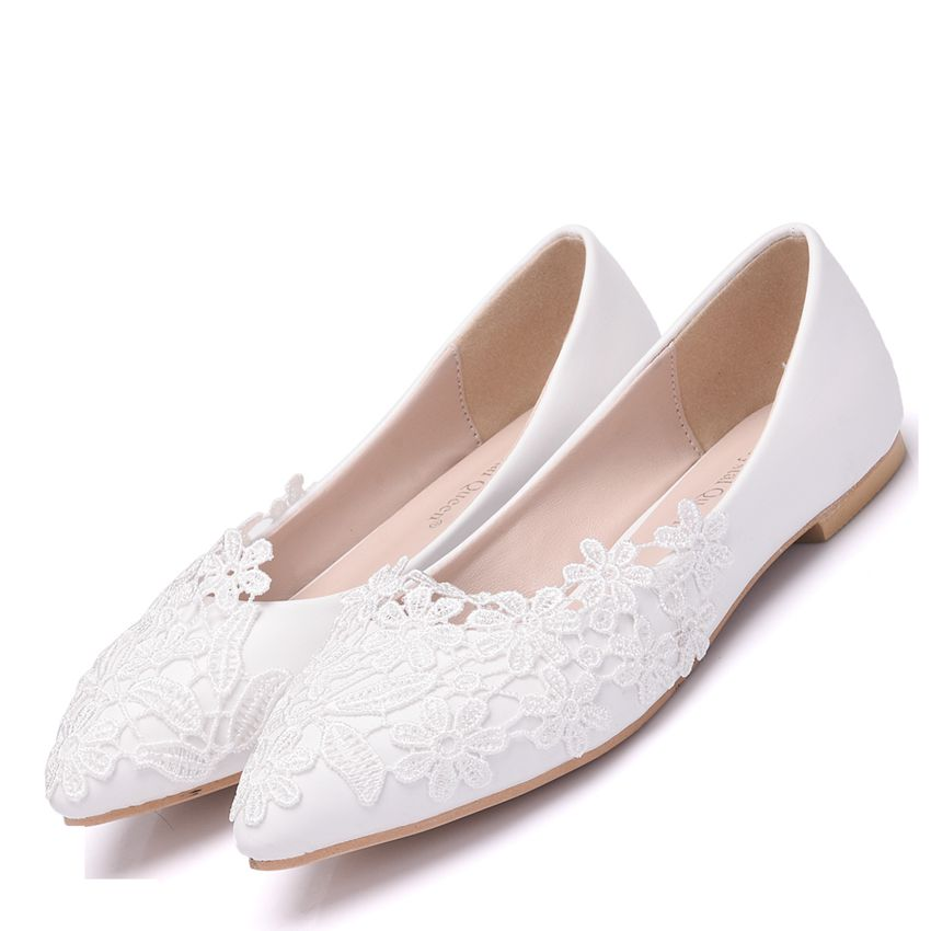 Ballet Flats White Lace Wedding Shoes Flat Heel Casual Shoes Pointed Toe Women Wedding Princess Flats Plus Size 43