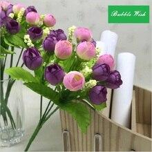 Искусственная Роза, искусственный цветок, пластиковый цветок, бутон розы, жемчужный bract, пластиковые бутоны, 15 головок цветов, накладные цветы