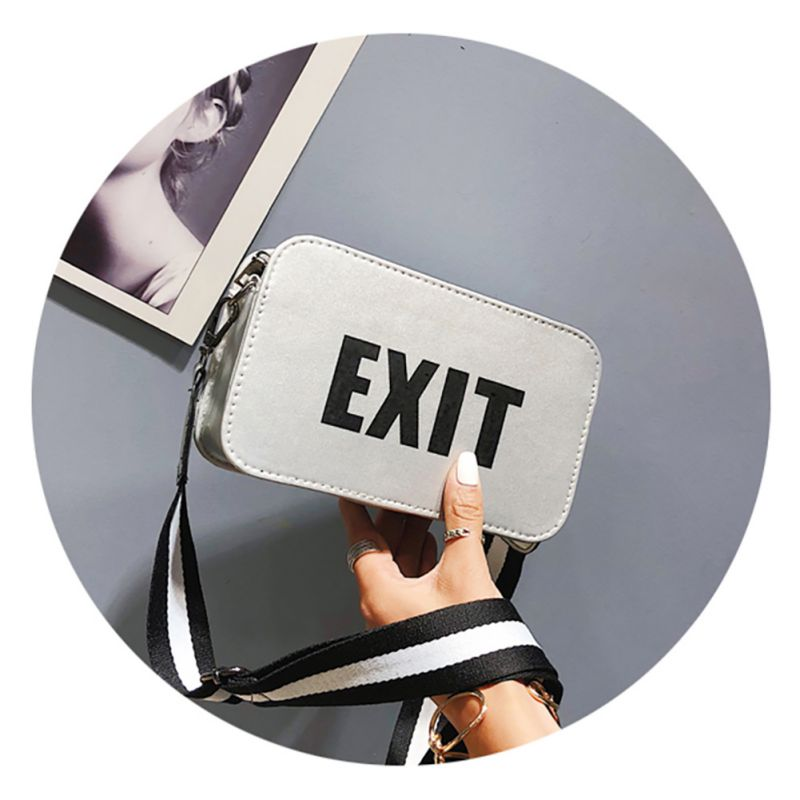 Letter Korean 2018 Unisex Style Fashion Handbags Printed Wide Shoulder bags Strap PU Leather Crossbody BagLetter Korean 2018 Unisex Style Fashion Handbags Printed Wide Shoulder bags Strap PU Leather Crossbody Bag