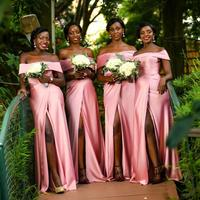 Babyonline African Mermaid Pink Long Cheap Bridesmaid Dresses 2019 Off The Shoulder Satin Prom Dresses Wedding Party Dress