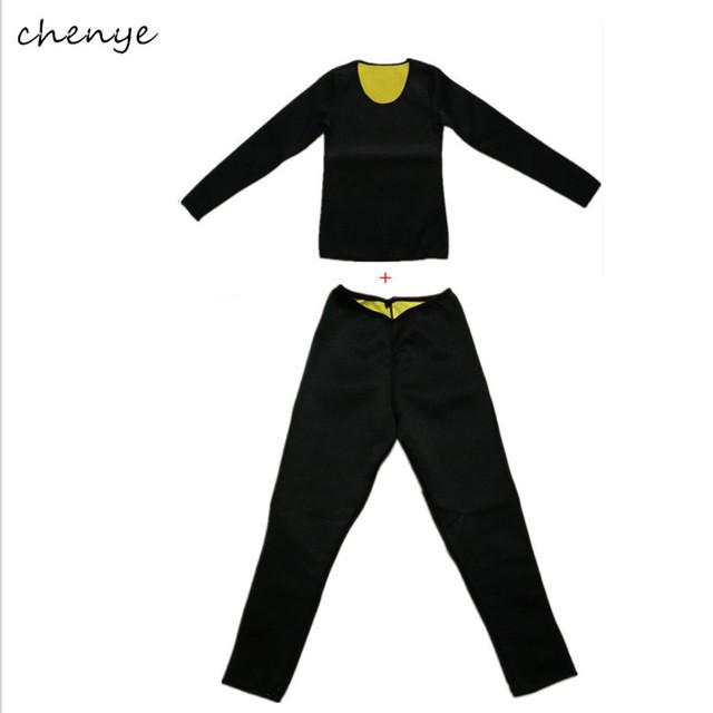 2 unids/set caliente faja neopreno corsé fajas mujeres sudor de manga larga y pantalones largos para adelgazar body cintura trainer underwear