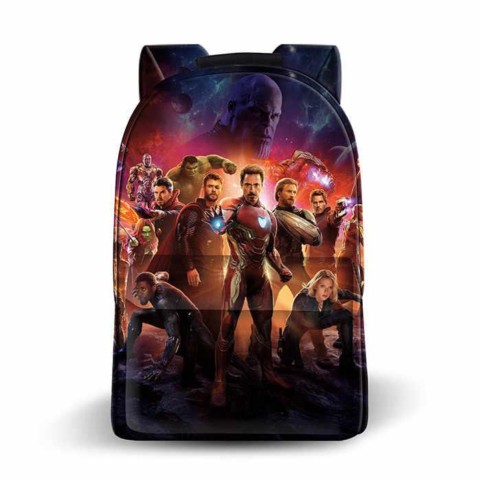2019 Marvel Avengers 4 Endgame Figura Escola Mochila Sacos homem De Ferro Capitão América Impresso Sacos de homens & mulheres Presente