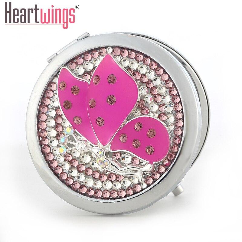 bling drahokam Křišťálový motýl anděl Mini Beauty kapesní zrcátko, rám z nerezové oceli, make-up kompaktní zrcadlo, doprava zdarma