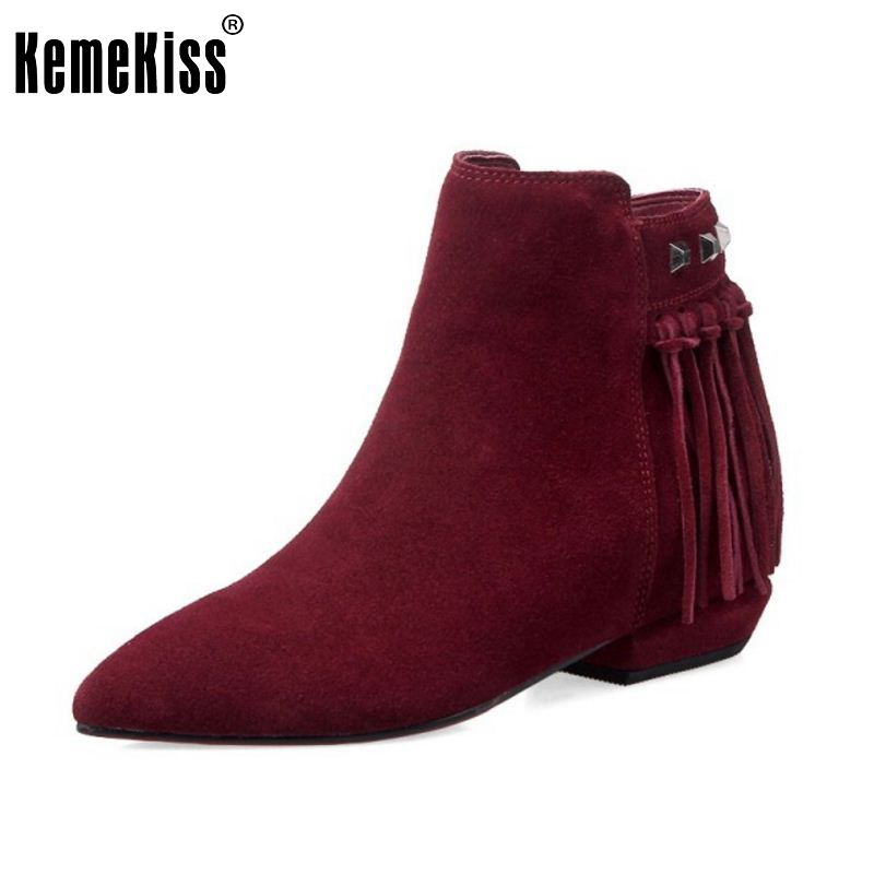 Women Real Leather Pointed Toe Ankle Boots Autumn Winter Woman Flat Botas Brand Tassel Zipper Footwear Shoes Size 33-43