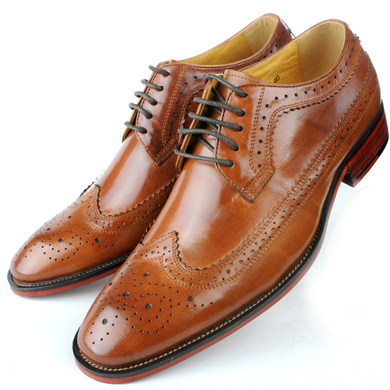 Genuine Leather Mens Derby Shoes Classic Oxfords Wedding Dress Shoes  Business Formal Brogue Round Toe Carved US6.0-10 Plus Size 0b634a588334
