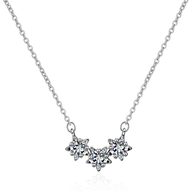 LUKENI Charm Crystal Star Female Pendants Necklace For Women Fashion Silver 925 Choker Necklace Lady Birthday Accessories Trendy