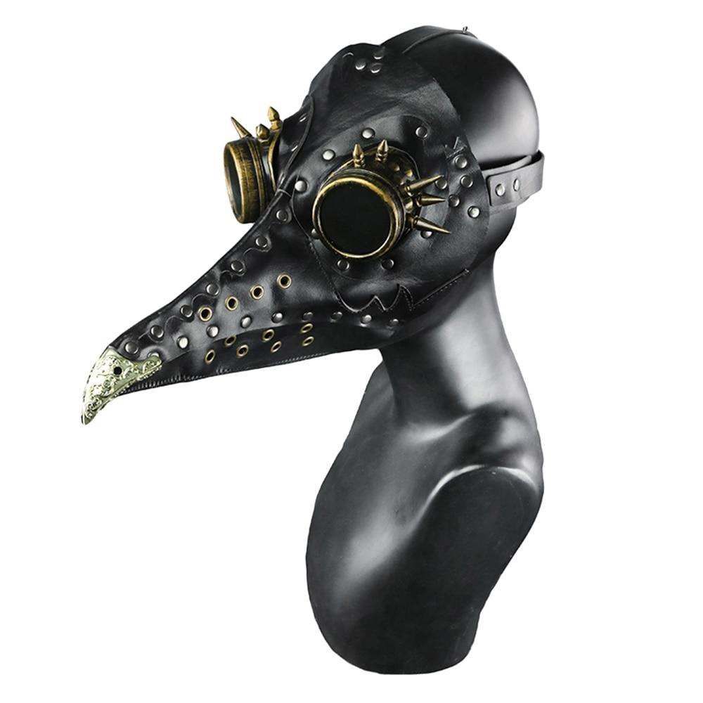 Steam Punk Unisex Plague Doctor Bird Mask Long Nose Black Costumes Masks Halloween Leather