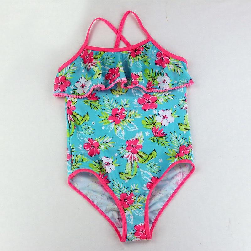 Traje de baño para niños Venta al por menor Niños lindos traje de baño Niñas Flores Impreso Bebé niña Traje de baño Trajes de baño de una pieza Ropa de playa