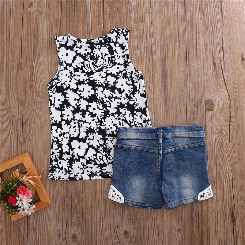 2Pcs High Quality Summer infant Baby Girl Clothes Toddler Baby Summer Kis T-Shirt Sleeveless Tops+Short Pants Baby Clothing