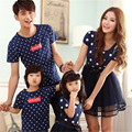 Mom and Daughter Dress Dad and Sons T-Shirts New 2016 Fashion Blue Dot Mother and Daughter Clothes Girls Dress Lovely AA816