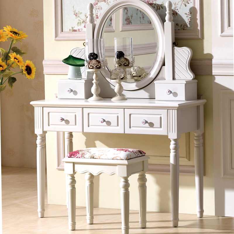 Dresser, European style bedroom makeup table ivory white small Huxing make up mini dresser make up tank mirror small dresser
