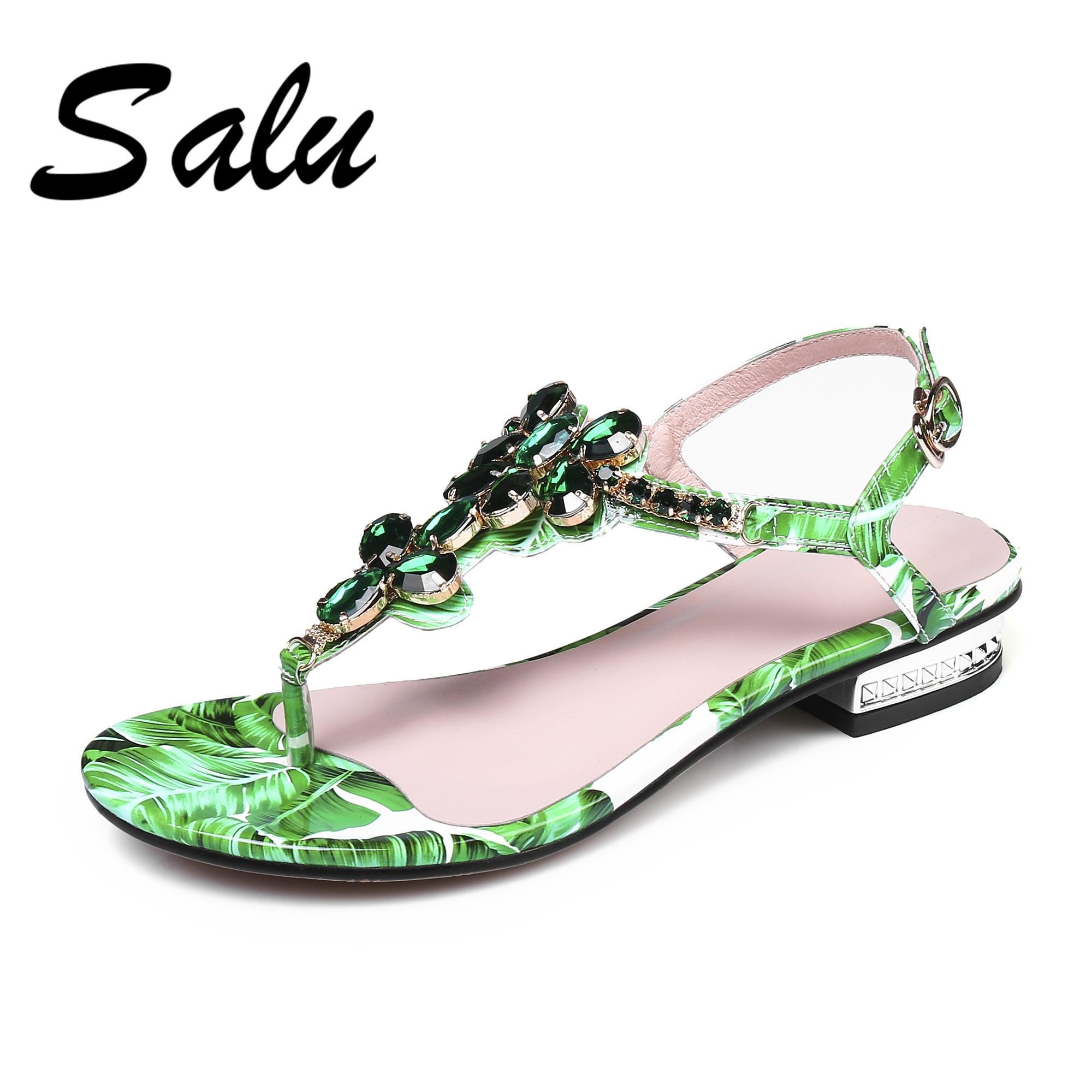 Salu 2019 summer Genuine leather sandals women slippers peep toe clear red blue crystal chunky heels