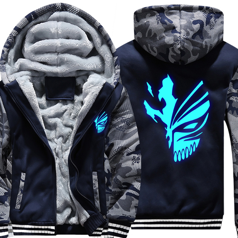 Anime Bleach Kurosaki Ichigo Sweatshirt Winter Warm Zipper Hoodies Sweatshirts Hooded Camouflage Sleeve Coat Luminous Jacket