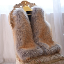 new arrival super quality thick warm faux fox fur mid-long waistcoat women female violet color sleeveless luxurious fur vest