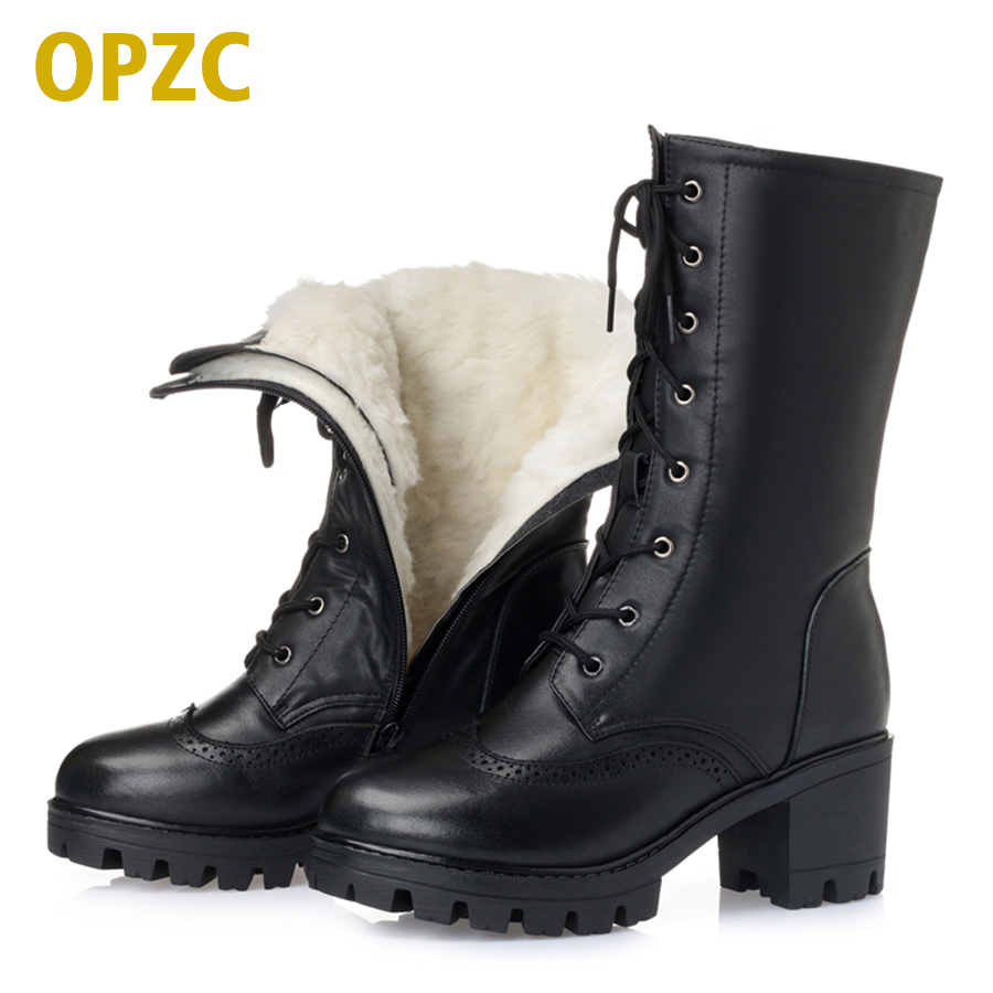 2017 winter new 100% natural full genuine leather women's army boots warm thick wool snow boots plus size 35-43 # boots women
