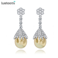 Teemi Brand Vintage Jewelry Big Grey Yellow White Pearl Drop Earrings Statement Tiny CZ Crystals Flower