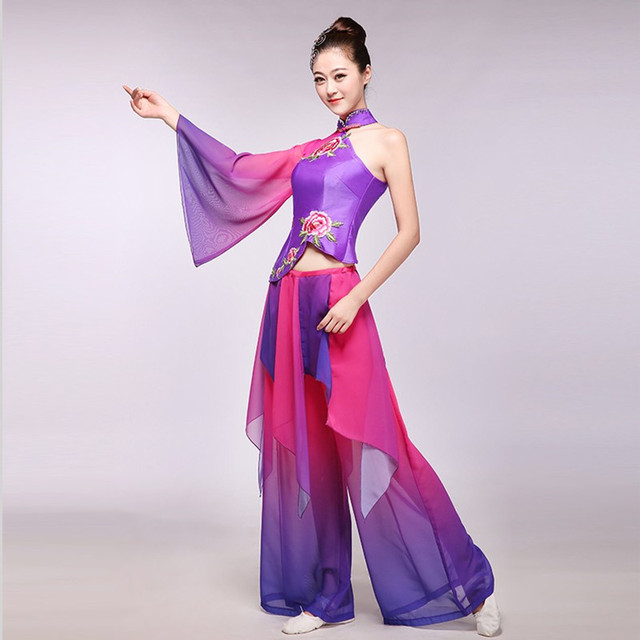 Women Embroidery Long Sleeves Clical Dance Costumes Violet Grant Ink Flower Fairy Chinese Folk Clothing