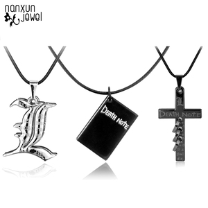 Hot Punk Anime Death Note Metal Necklace Cross Book Pendant Leather Chain Cosplay Women Men Accessories Choker Jewelry Gift 50cm