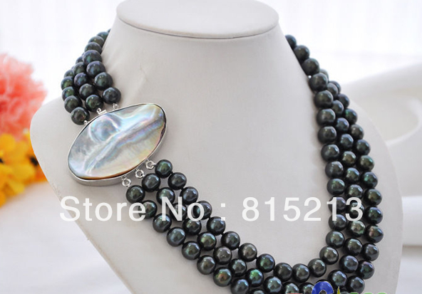 FREE SHIPPING>>> AA+ 3row 9-10mm peacock black round FW pearl necklace mabe clasp 10x10 jewerly free shipping 17 19 3row 10mm natural white round freshwater pearl necklace silver mabe clasp