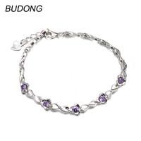 BUDONG Genuine 925 Sterling Bracelet For Women Natural Purple Amethyst Stone Extendable Chain Bracelets Engagement Fine