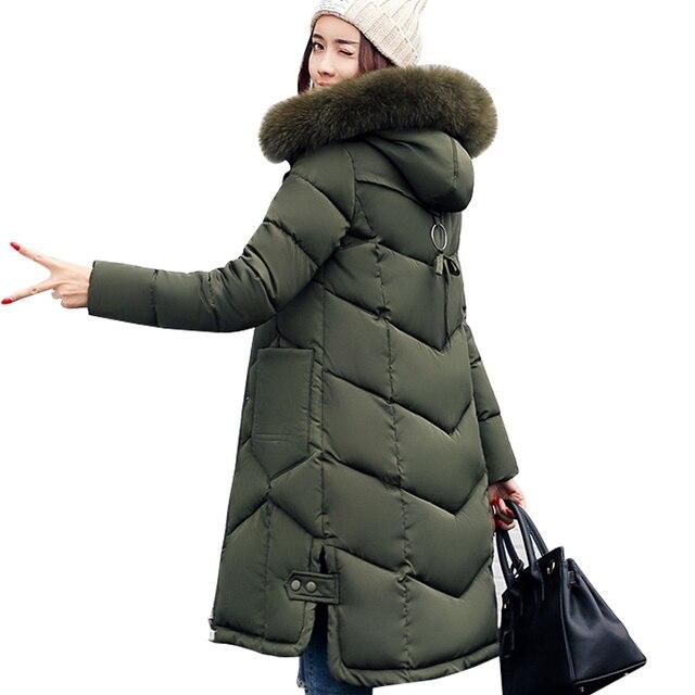 Phụ nữ áo khoác 2017 Lông Trùm Đầu Áo Khoác đối với phụ nữ Độn Cotton xuống Winter Coat phụ nữ Dài Parka Womens Áo Khoác Quần Áo Cộng Với kích thước