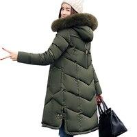 Women Jackets 2017 Fashion Fur Hooded Jacket For Women Cotton Down Winter Coat Women Long Parka