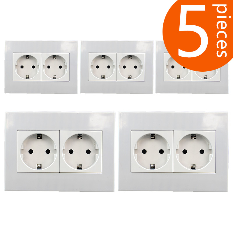 5 pieces 146mm type European German standard double wall power outlet CE certified PC material socket