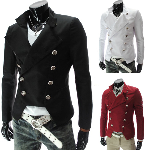 Latest  Slim Fit British male double breasted Blazer fashion men slim jacket 9306 BLACK/RED/WHITE CASUAL DRESS