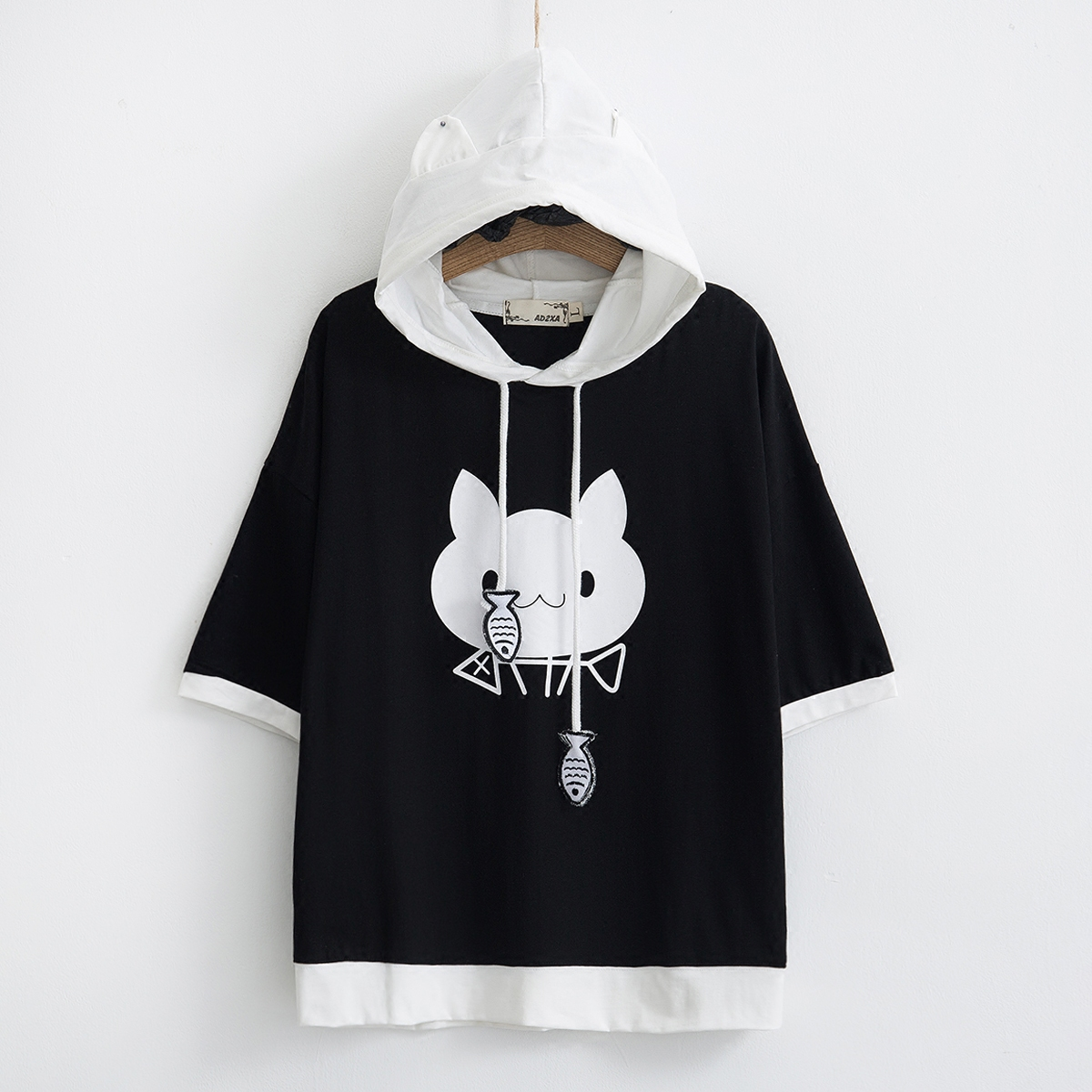 2018 Summer Japanese Style Cute Ear Girls Hoodies Women Casual Short Sleeve Cat and Fish ...