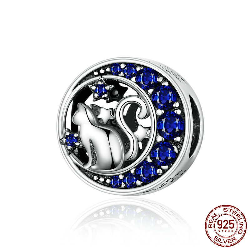Silver S925 Beads Sterling 925 Blue Moon Naughty Cat Pet Charms For Bracelet Bangle Diy Jewelry Making Scc1204