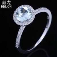 Sterling silver 925 Flawless Round 6mm 0.68ct Genuine Aquamarine Real Diamond Engagement Wedding Halo Fine Jewelry Gemstone Ring