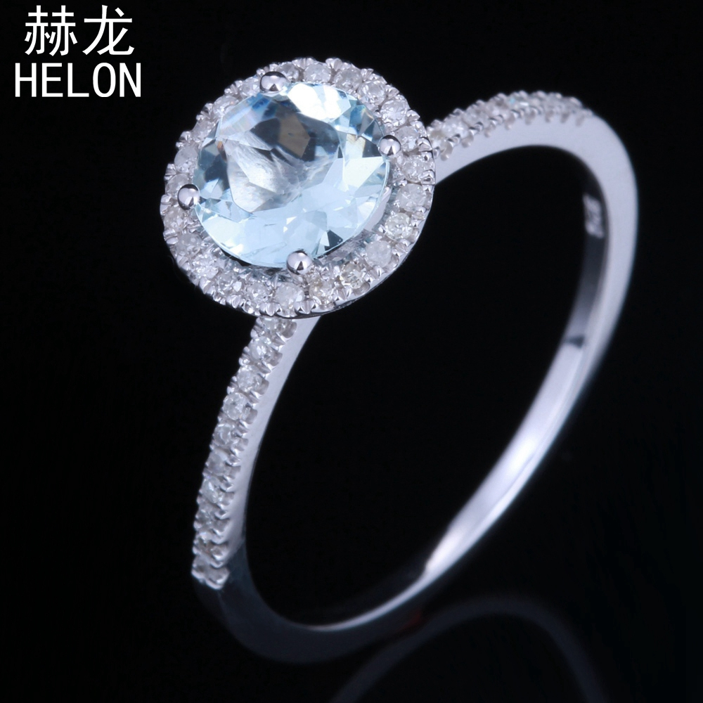 Sterling silver 925 Flawless Round 6mm 0.68ct Genuine Aquamarine Real Diamond Engagement Wedding Halo Fine Jewelry Gemstone Ring