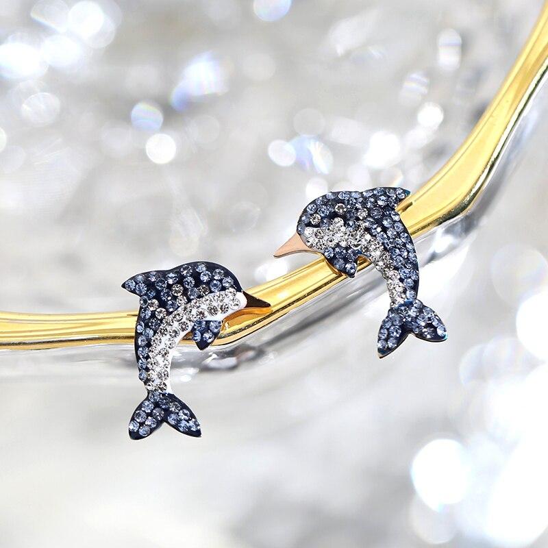 YUN RUO 2018 New Fashion Tassel Zircon CZ Dauphin Stud Earring Rose Gold Color Woman Gift Titanium Steel Fine Jewelry Never Fade